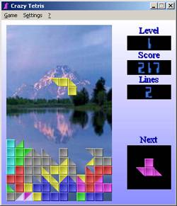 Tetris with blocks consist of triangles.