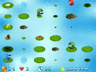 Jump with little dragon in the lake, eat fruits, collect diamonds and prizes.